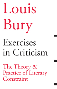 Louis Bury / Excersises in Critisism cover