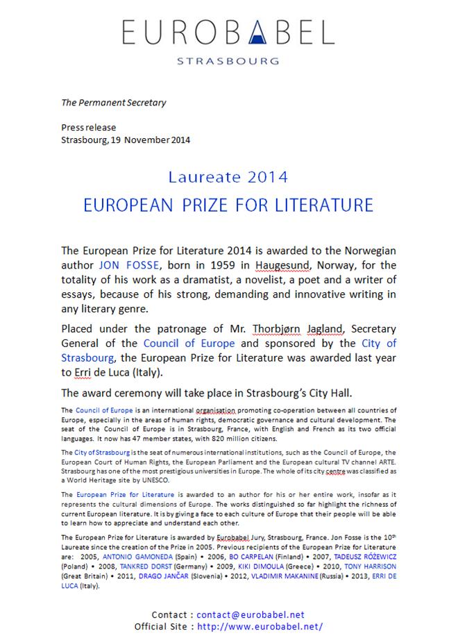 John Fosse wins European Prize
